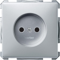 2000-4060 Merten розетка 1-ая б/з с защитными шторками винт.зажим (алюминий)