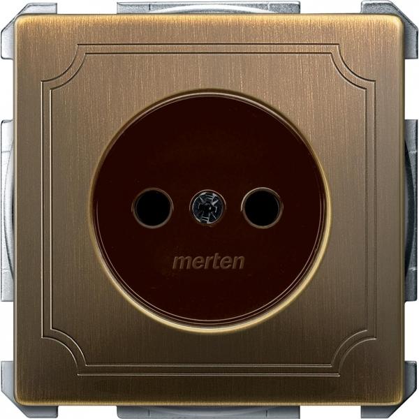 2000-4143 Merten розетка 1-ая б/з с защитными шторками винт.зажим (античная латунь)