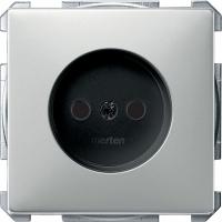 2000-4146 Merten розетка 1-ая б/з с защитными шторками винт.зажим (сталь)