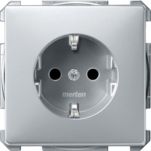 2300-4060 Merten розетка 1-ая с/з с защитными шторками безвинт (алюминий)