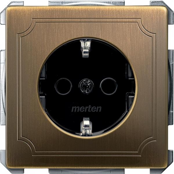 2300-4143 Merten розетка 1-ая с/з с защитными шторками безвинт (античная латунь)