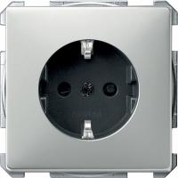 2300-4146 Merten розетка 1-ая с/з с защитными шторками безвинт.зажим (сталь)