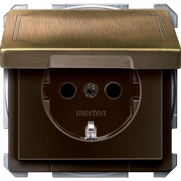2310-4143 Merten розетка 1-ая с/з с защитными шторками с безвинт зажим (античная латунь)