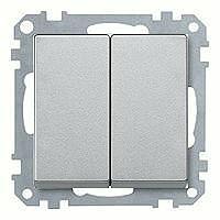 Merten Кнопочный двухклавишный выключатель с 1-НО контактом (алюминий) System M