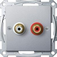 4350-0460 Merten аудиорозетка с двумя гнездами тюльпан (алюминий)