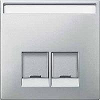 Merten Розетка телефонная двойная RJ11 (стальной) System Design