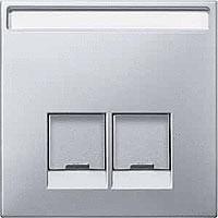 Merten Розетка телефонная двойная RJ11 (алюминий) System Design