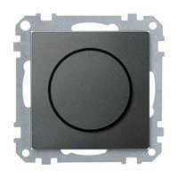 Merten Светорегулятор поворотно-нажимной 40-600 Вт. для ламп накаливания и галогеновых (антрацит) System M