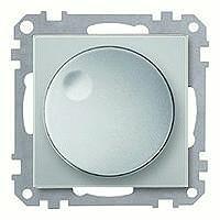 Merten Светорегулятор поворотно-нажимной 40-600 Вт. для ламп накаливания и галогеновых (алюминий) System M