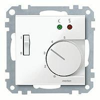 Merten Терморегулятор теплого пола с датчиком пола 10А и выключателем (полярно белый) System M