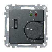 Merten Терморегулятор теплого пола с датчиком пола 10А и выключателем (антрацит) System M