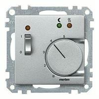 Merten Терморегулятор теплого пола с датчиком пола 10А и выключателем (алюминий) System M