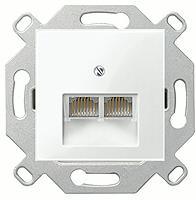 Merten Розетка телефонная двойная RJ11 (полярно белый) System M