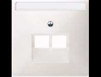292619 Merten накладка розетки тлф/комп 2-ой наклонной (полярно белый)