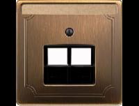 292643 Merten накладка розетки тлф/комп 2-ой наклонной (античная латунь)