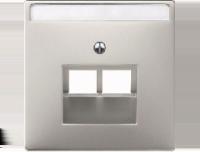 292646 Merten накладка розетки тлф/комп 2-ой наклонной (сталь)