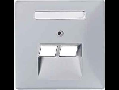 292660 Merten накладка розетки тлф/комп 2-ой наклонной (алюминий)