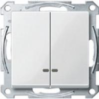 3135-1319 Merten выключатель 2-кл.с подсветкой (в сборе, без рамки) (белый)