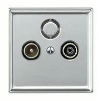 Merten Телевизионная розетка тройная проходная TV+Radio+Sat (алюминий) System Design